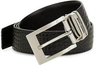 Roberto Cavalli Croco-Embossed Leather Belt