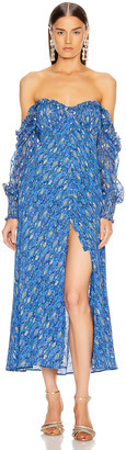Rixo Miriam Dress in Klimt Eye Wave Blue & Gold | FWRD