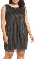 Pisarro Nights Embellished Mesh Sheath Dress (Plus Size)