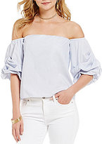 Lucy Paris Savannah Off-the-Shoulder Poplin Bubble Sleeve Blouse