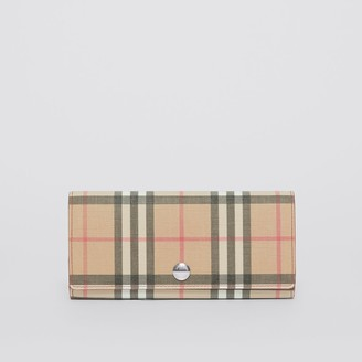 Burberry Vintage Check E-canvas and Leather Continental Wallet