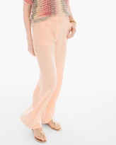 Chico's Linen Wide-Leg Pants in Peach Puff