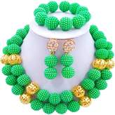 aczuv 2 Rows Simulated Pearl Beads African Jewelry Set for Women Nigerian Wedding Necklace and Earrings