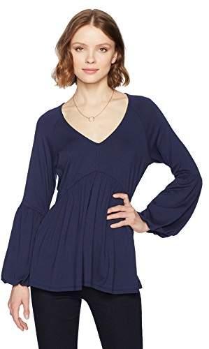 V Top Empire Shirred Bell Neck Waist Women's Knit Sleeve Jade Long zVGqUMpS