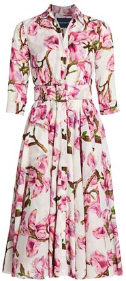Samantha Sung Aster Magnolia Blossom-Print Shirtdress