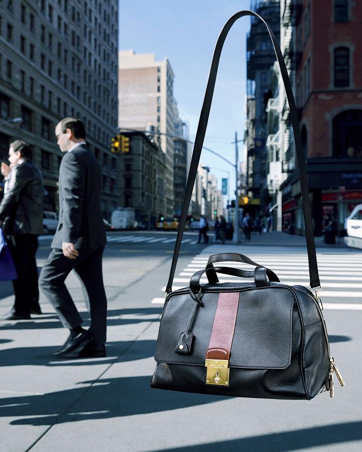 Marc Jacobs Frankie Bicolor Zip Satchel Bag, Black