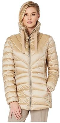 Bernardo Fashions EcoPlume Lust Fabric Fitted Packable Jacket (Quartz Beige) Women's Jacket