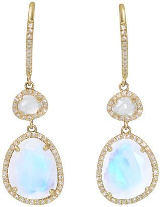 Kamaria Clara Earrings With Rainbow Moonstone & White Topaz