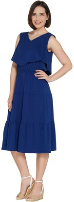 Denim & Co. Sleeveless V-Neck Tiered Dress with Ruffle Detail