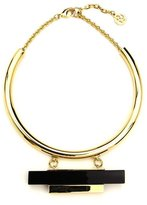 Ben-Amun Gold Collar Necklace with Black Resin and Gold Bar