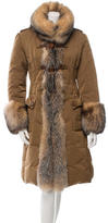 Moncler Fur-Trimmed Down Coat