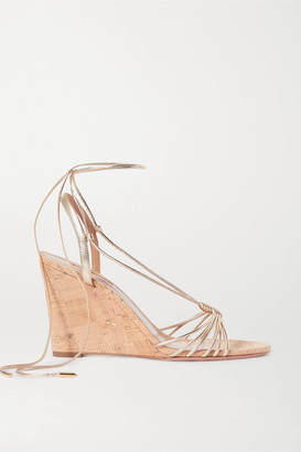 Aquazzura Whisper 85 Metallic Leather Wedge Sandals - Gold