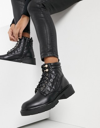 New Look pearl detail quilted lace up hiker boots in black
