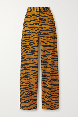 Adam Lippes Tiger-print Stretch-jersey Wide-leg Pants - Tan