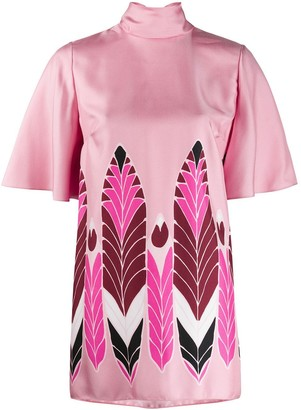 Valentino Flutter High Neck Feather Print Top