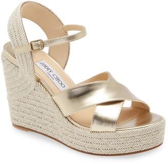 Jimmy Choo Dellena Metallic Platform Wedge Sandal