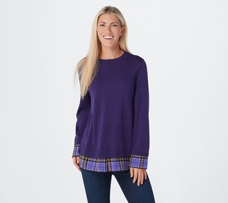 Joan Rivers Classics Collection Joan Rivers Long Sleeve Sweater with Plaid Details