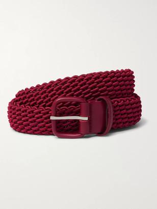 Charvet 3cm Burgundy Leather-Trimmed Woven Elastic Belt - Men - Burgundy