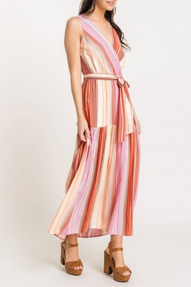 Lush Tie Front Printed Maxi Dress
