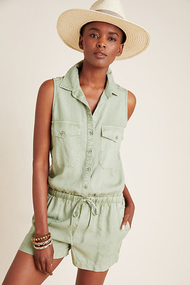 Cloth & Stone Bette Utility Romper By in Green Size L