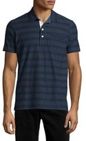 Billy Reid Pensacola Striped Jersey Polo Shirt, Blue