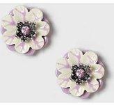 Dorothy Perkins Womens Lilac Floral Enamel Earrings- Purple