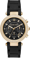 Michael Kors Women's Chronograph Parker Black Silicone Wrapped Gold-Tone Stainless Steel Bracelet Watch 39mm MK6404