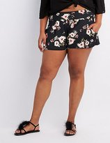 Charlotte Russe Plus Size Floral High-Waist Shorts