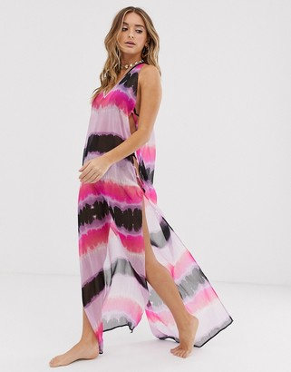 Asos Design DESIGN maxi beach dress with lattice side in tie dye print-Multi