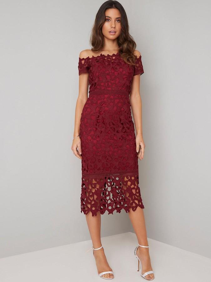 Chi Chi London Anna Lace Bardot Midi Dress - Burgundy