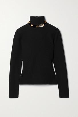 Alexander McQueen Embellished Ribbed-knit Turtleneck Sweater - Black