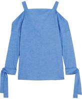 Tibi Cutout Stretch-cotton Chambray Top - Blue