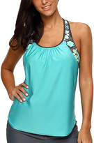 Zesica Women's Tankini Tops Mint - Mint Floral T-Back Tankini Top - Women & Plus