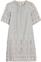 Sea Broderie Anglaise Cotton Mini Dress - Gray