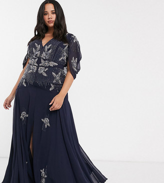 ASOS DESIGN Curve maxi dress with linear sequin and floral beading