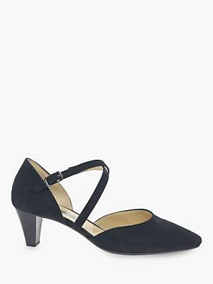 Gabor Callow Cross Strap Block Heel Court Shoes, Pacific Suede