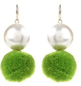 Amrita Singh Glass Pearl Pom Pom Earrings.