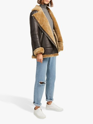 French Connection Night Toscana Shearling Jacket, Brown