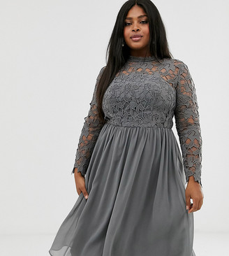 Chi Chi London Plus lace midi dress in charcoal grey