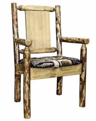 Abella Loon Peak Solid Wood Slat Back Arm Chair in Brown Loon Peak
