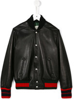 Gucci Kids contrast stripe leather jacket