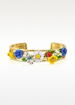 Les Nereides Champetre Large Flowers, Butterfly, Ladybug and Strass Cuff Bracelet