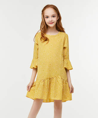 Cup Of Sweet Cup of Sweet Casual Dresses Yellow - Yellow Stars & Stripe Ruffle-Trim Drop-Waist Dress - Girls