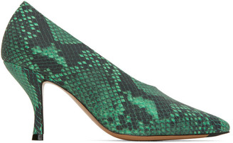 Dries Van Noten Green Snake Heels