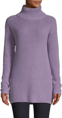 Lord & Taylor Cotton-Blend Ribbed Turtleneck Sweater