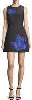 Cynthia Rowley Sleeveless Floral-Print Structured Dress, Heather Black