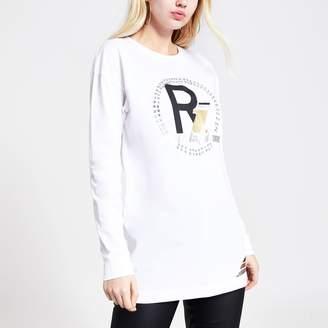 River Island Womens White RI print diamante boyfriend T-shirt