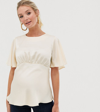 ASOS DESIGN Maternity top with flutter sleeve in satin