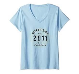 Womens Best Friends Since 2011 9th Friendversary V-Neck T-Shirt