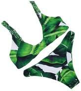 Bestgift Women's Braided Rope Padded Leaves Pattern Bikini Set M